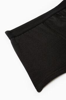 Five-pack solid colour boxer shorts, Black, hi-res