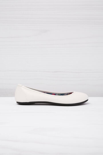 Ballerina flats with patterned inner, White, hi-res