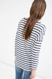 Cotton T-shirt with striped and polka dot pattern, White/Blue, hi-res