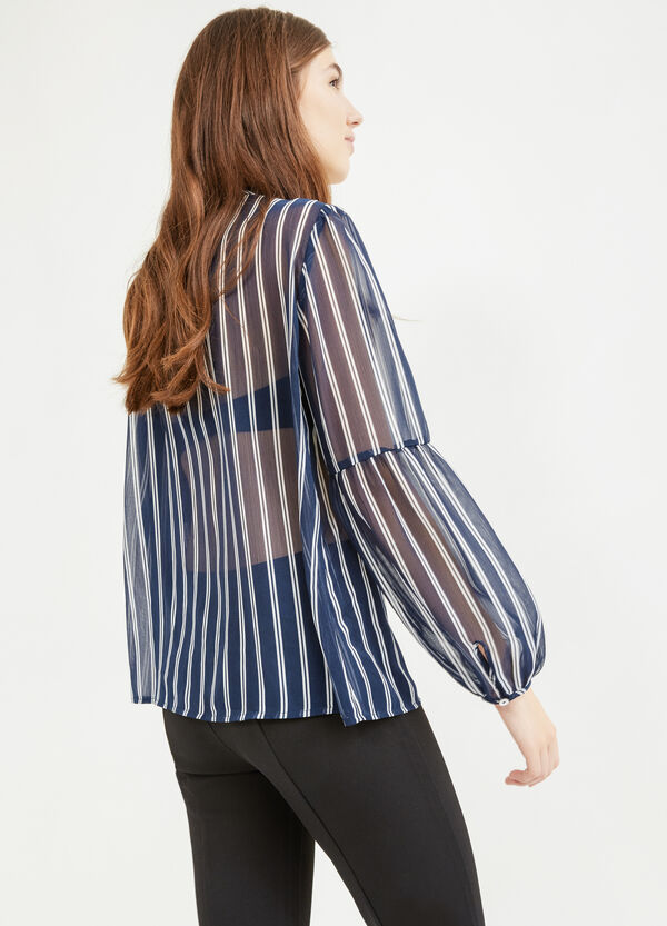 Blouse with tie and all-over print   OVS