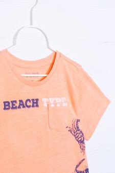 T-shirt cotone con stampa, Arancione fluo, hi-res