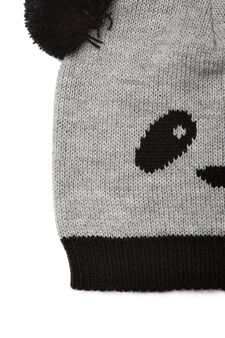 Panda beanie cap, Grey, hi-res
