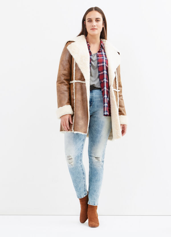 Curvy leather-look jacket with faux fur | OVS