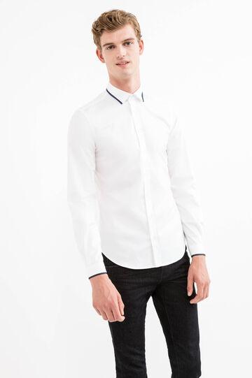 Custom-fit formal shirt with ribbing, White, hi-res