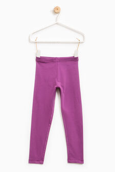 Solid colour stretch leggings, Plum, hi-res
