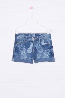 Floral patterned denim shorts, White/Blue, hi-res