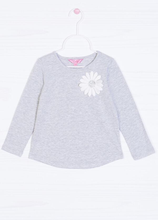 T-shirt cotone stretch fiore petto | OVS