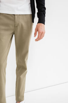 100% cotton regular fit chino trousers, Sage Green, hi-res