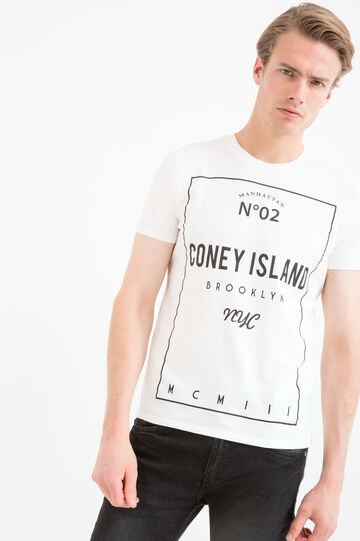 T-shirt stampa lettering puro cotone, Bianco, hi-res