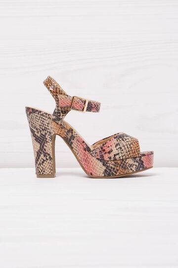 Snakeskin sandals with heel