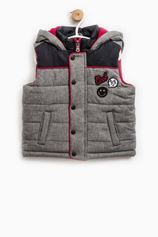 Padded waistcoat with patches, Dark Grey, hi-res