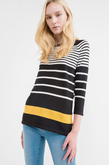 Pullover with striped three-quarter sleeves, Black, hi-res