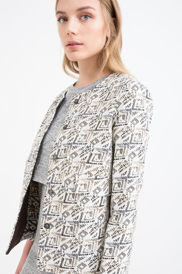Jacquard blazer with geometric print, White/Brown, hi-res
