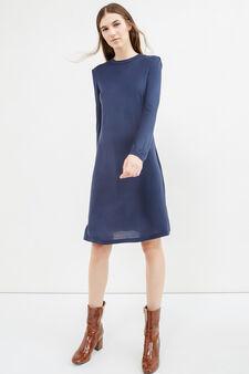 Long-sleeved 100% viscose dress, Blue, hi-res
