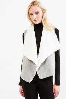 Reversible cotton waistcoat, Grey Marl, hi-res
