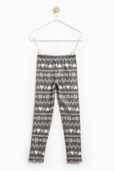 Jacquard patterned leggings, Dark Grey Marl, hi-res