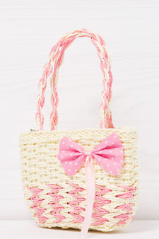 Shoulder bag with contrasting bow, Yellow, hi-res