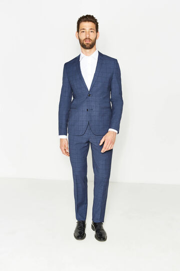 Custom-fit suit in check viscose, Blue, hi-res