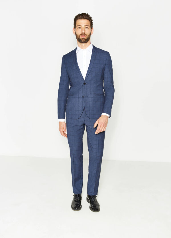 Custom-fit suit in check viscose | OVS