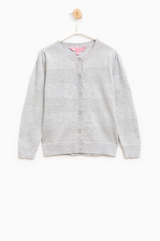 Striped cotton and viscose pullover, Grey, hi-res