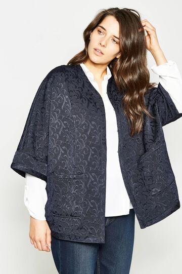 Curvy damask patterned coat, Navy Blue, hi-res