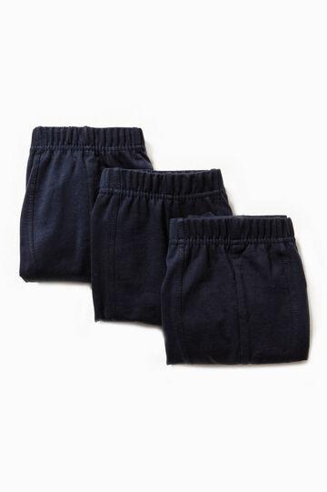 Set tre boxer in puro cotone tinta unita, Blu navy, hi-res