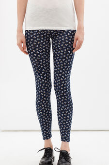 Stretch leggings with all-over print., Blue, hi-res