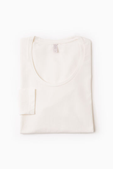 Stretch undershirt with long sleeves, White, hi-res