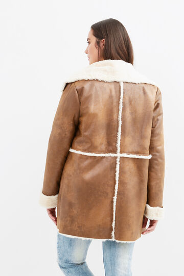 Curvy leather-look jacket with faux fur, Brown, hi-res