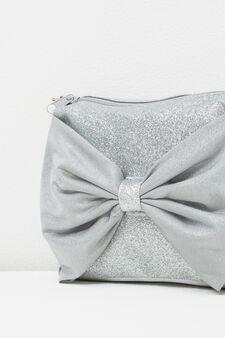 Glitter shoulder bag with bow, Fuchsia, hi-res