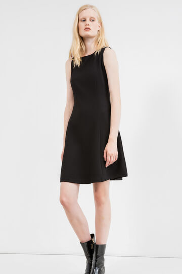 Short sleeveless stretch piquet dress, Black, hi-res