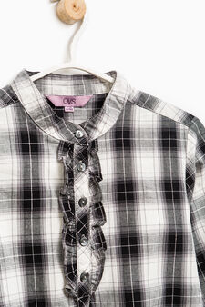 Check shirt in cotton and lurex, Grey, hi-res