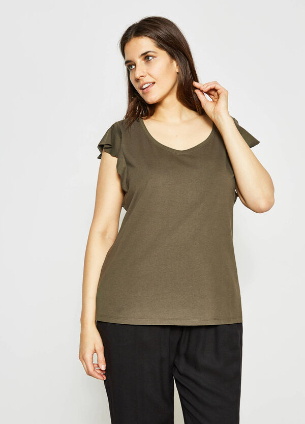 Curvy raw cut T-shirt with flounce | OVS