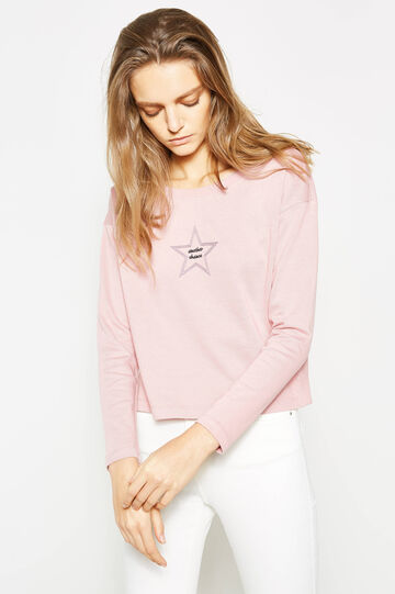 Sweatshirt with boat neck and embroidery, Light Pink, hi-res