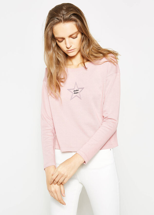 Sweatshirt with boat neck and embroidery | OVS