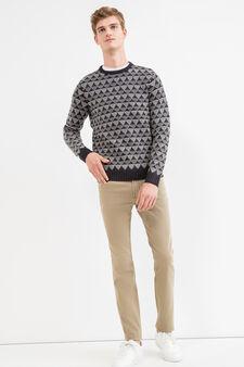 Slim fit, stretch cotton trousers, Dove Grey, hi-res
