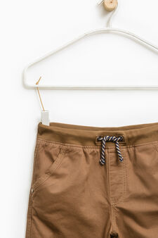 Cotton trousers with drawstring, Mustard Yellow, hi-res