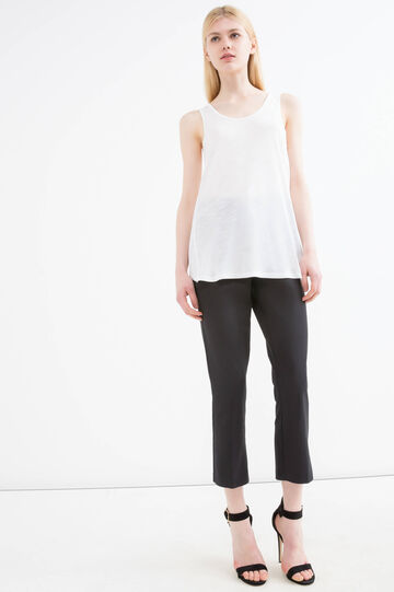 100% viscose top with slit on back, Milky White, hi-res