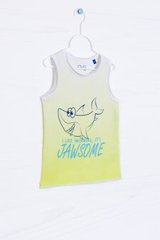 Degradé vest top in 100% cotton, White/Green, hi-res