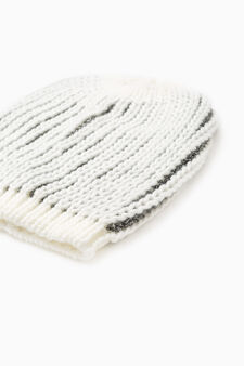 Striped cotton knitted beanie cap, White, hi-res