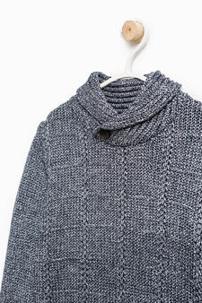 Knitted cotton pullover with high neck, White/Blue, hi-res