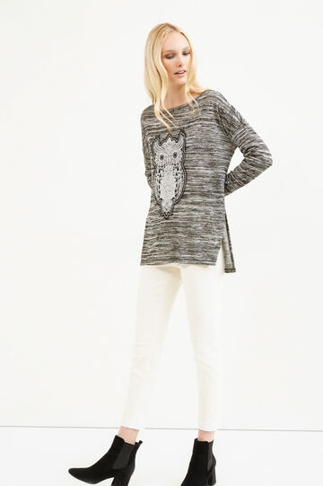 Viscose blend sweatshirt with embroidery, Black, hi-res
