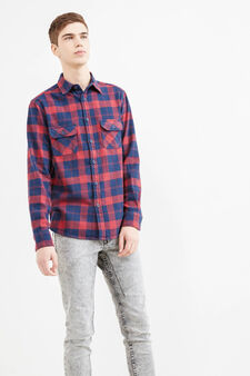 G&H casual check shirt, Blue/Red, hi-res