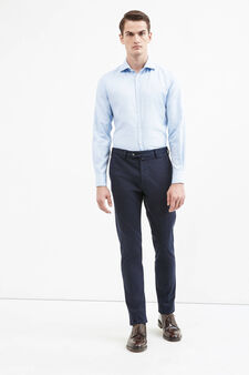 Stretch cotton Rumford trousers with crease, Blue, hi-res