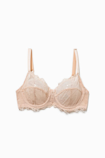 Solid colour soft bra in lace, Pink, hi-res