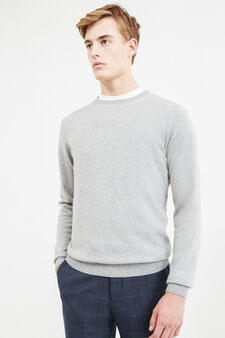 Solid colour cashmere and silk pullover, Light Grey, hi-res