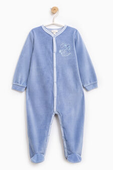 Embroidered sleep suit with feet, Blue, hi-res