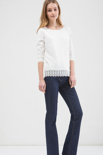 Cotton blend pullover with lace insert, White, hi-res