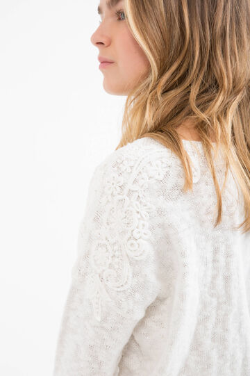 Teen 100% cotton pullover with lace trim, White, hi-res