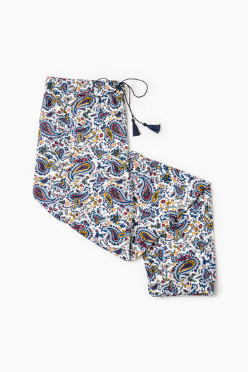 Paisley print pyjama trousers, White, hi-res